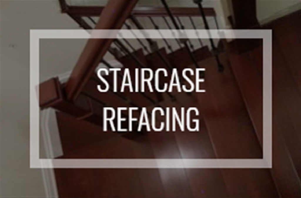 """Text reading """"staircase refacing"""" over renovated hardwood stairs"""