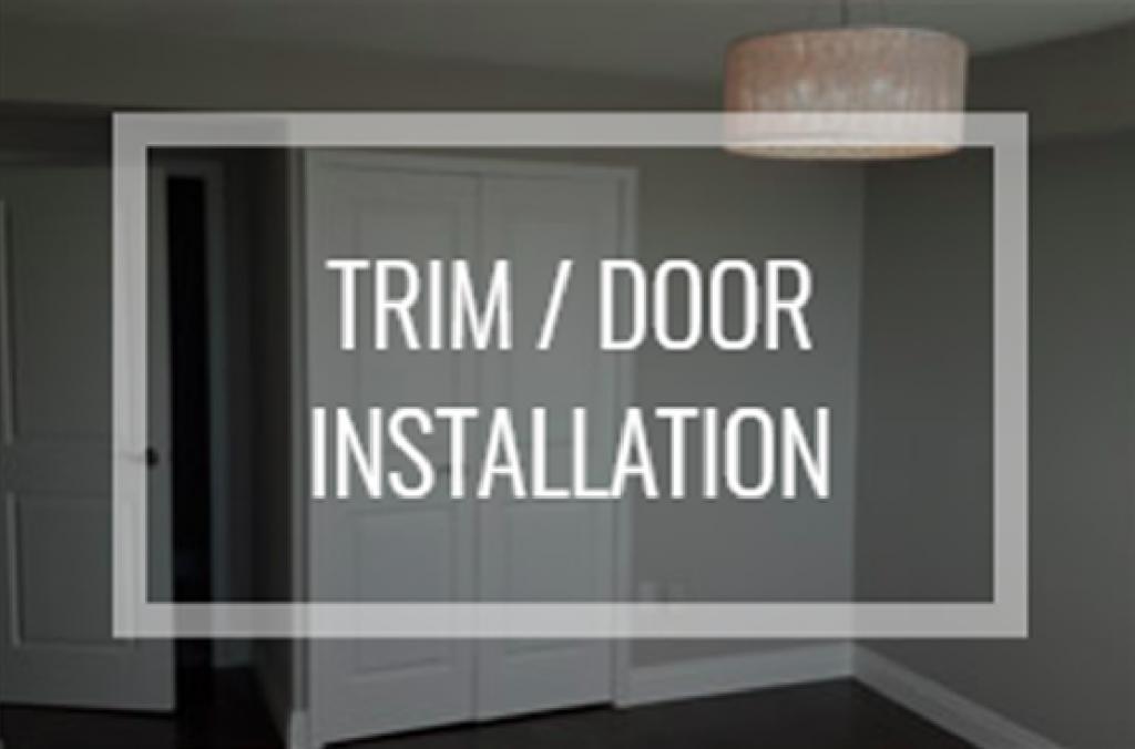 """Text reading """"trim/door installation"""" over sliding hardwood closet door"""