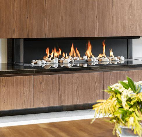 Classy modern fireplace with hardwood panels